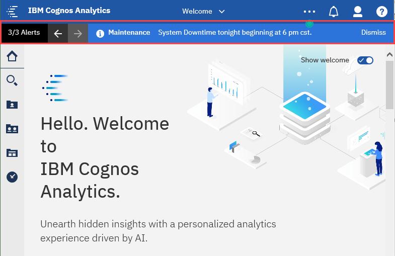 Screen-Shot-Welcome Screen Cognos Analytics 11.1.4